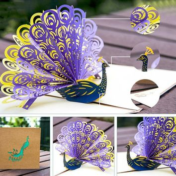 3D Pop Up Laser Cut Peacock Cards wedding Thank You Cards Gift Greeting Postcards Paper Customize Invitations Happy Birthday