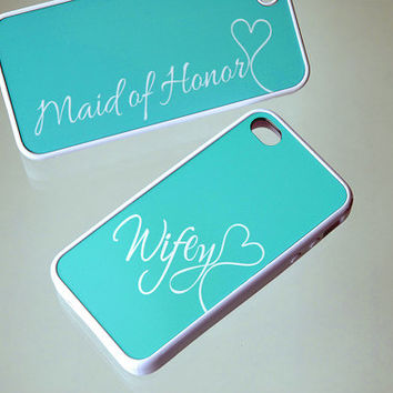 Personalized Phone Case, Matching iPhone Cases, Silicone iPhone Case, iPhone 6 Case, iPhone 6 Plus, Mint Blue, Tiffany, Wifey, Maid of Honor