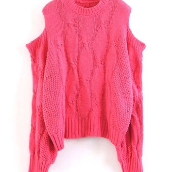 Hot Pink Cold Shoulder Cable Long Sleeve Chunky Knit Sweater