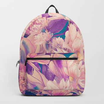 flowers magnolia #flowers #flora #pattern Backpack by jbjart