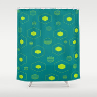 Teal Lime Shower Curtain Hexagon Pattern Shower Curtain Retro Lime Teal Shower Curtain Teal Pattern Shower Curtain Lime Pattern Bathroom