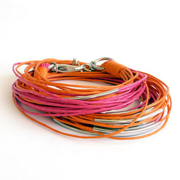 Multi Strand Wrap Bracelet, Wrap Around Tube Bracelet, Orange Fuchsia, Cord Bracelet, Boho Jewelry