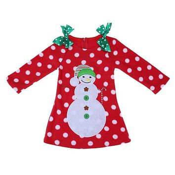 Children New Year Costume Girl Dress Christmas Toddler Snowman Dresses Baby Girl Long Sleeve Dot Bowknot Clothes