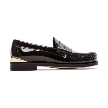 Caminando Heel Cup Penny Loafers in Black