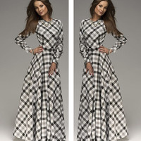vestidos 2015 New Arrival winter women maxi dresses casual full sleeve o-neck plaid elegant party evening maxi long dress