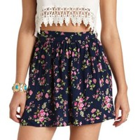 High-Waisted Floral Print Mini Skirt by Charlotte Russe - Navy Combo