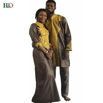 H&D Dashiki african couple dress clothing for men and women friends get married Bazin Traditional Private lovers Custom headtie