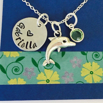 Dolphin Necklace, Dolphin Name Necklace, Dolphin Jewelry,  Name Necklace with Dolphin Charm, Beach Jewelry