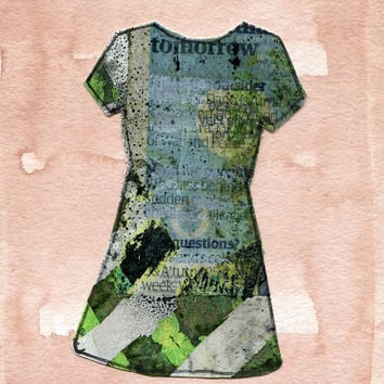 TOMORROW DRESS 2 - Original Collage Paintng - Modern Art - Contemporary Art - Fashion Style
