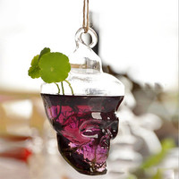Clear Skull Glass Vase Succulent Flower Hanging Terrarium Potted Pots Planter Home Decor Wedding Haloween Holiday Gift