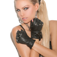 Leather Nail Head Fingerless Gloves