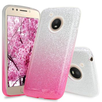 Two Tone Glitter Hybrid TPU with Glitter Paper with PC Shinny Glitter Hybrid Protection Case Cover For Motorola Moto E4; LG Styl