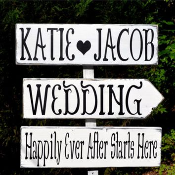 Large Wedding Sign Personalized Names Directional Rustic Happily Ever After