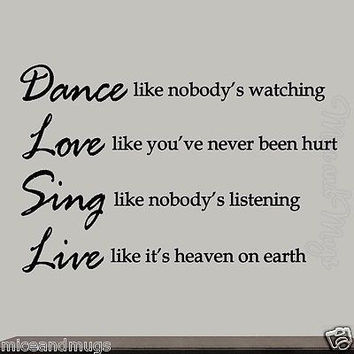 Dance Like Nobody's Watching Inspirational Wall Decal Quote Vinyl Wall Letters