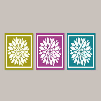 Teal Violet WALL ART, Bathroom Artwork, Bedroom Pictures, Flower Wall Art, Home Decor, Flower Art, Dahlia Set of 3 Prints Or Canvas