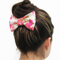 FLORAL and white, PINK, and green BOW on a metal hair clip. Perfect for under a hair bun or for a nice ponytail