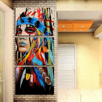 Art Painting Modern Home Wall Art Decor Canvas Print 3 Panel Beauty Native American Indian Girl Feathered Modular Pictures