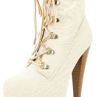 Qupid Pratt 04X Lace Up Ivory Lave Ankle Booties Stilettos | shoes heels high heel shoes trendy shoes stilettos