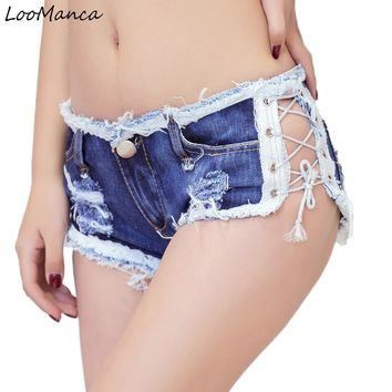 Womens Sexy jeans denim shorts 2018 New Summer Fashion cotton lace-up super Micro Mini Tassel shorts Ladies Skinny short jeans