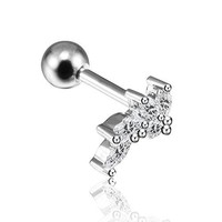 BodyJ4You Cartilage Tragus Barbell Leaves Branch Piercing Monroe Labret Lip Helix Ring CZ