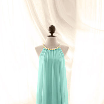 Medieval Breakfast at Tiffany's Pearl Necklace Mint Seafoam Blue Green Great Gatsby Roaring 20 Medieval 1920s Victorian Swing Flowy Dress