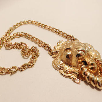Gold Tone Napier Lion Head Door Knocker Necklace
