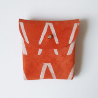 COIN PURSE // orange suede with white V pattern