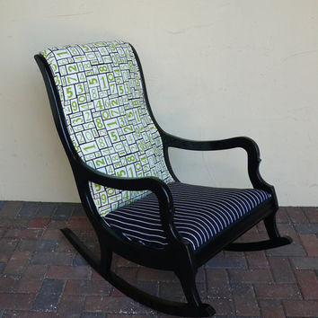 Antique Vintage Modern Numbers Rocking Chair - recycled arm chair rocker - pinstripe fabric