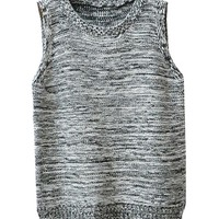 Relaxed Style Sleeveless Round Neckline Pullover Knitwear