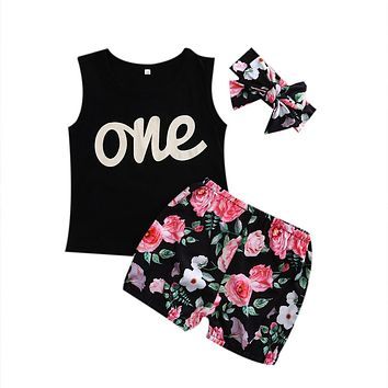 Newborn Infant Baby Girls Outfit Clothes Sleeveless Top+ Floral Short +Headband Clothing Set