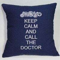 SALE Keep Calm and Call the Doctor - Dr Who inspired Embroidered Pillow Case Cover