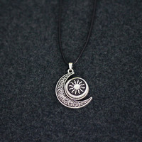 Moon and Sun are back together, Choker Necklace Pendant  Cord Collar 90s Leather  Trendy Boho String Tattoo Bdsm Grunge