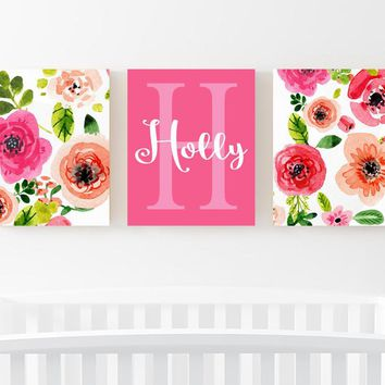 WATERCOLOR Floral Wall Art, Watercolor Flower Art, Watercolor Monogram Decor, Nursery Decor, Floral Artwork, Set of 3 Canvas or Print
