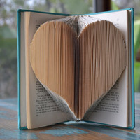 The Heart - Mystery Writers - Teal - Folded Book Art - Recycled, Repurposed, Reclaimed