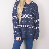 Vintage Blue Tribal Aztec Knit Sweater