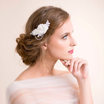 Lace Hair Clip - Bridal Hair Clip of Lace and Rhinestones - Lace Bridal Hairpiece - Ivory, white, gold, silver - Bridal Hair Accessories