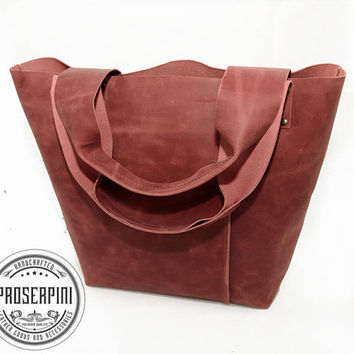 Rich Burgundy Tote, Free Branding Initials, Handmade Leather Tote, Durable Tote, Quality leather, Leather Shopper, Real leather, Beach bag