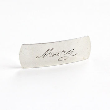 "Vintage Sterling Silver ""Mary"" Barrette Hair Clip - Mid-Century 1940s 1950s Hair Pin Accessory Monogrammed Jewelry"