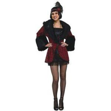 1920's Flapper Coat Red Brocade Faux Fur Trim