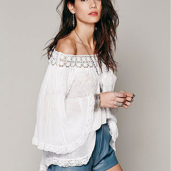 White Cut Out Off the Shoulder Loose Sleeve Dipped Hem Blouse