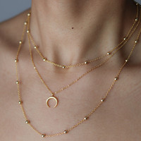 Bohemian Jewelry - Half Moon Minimalist Necklace