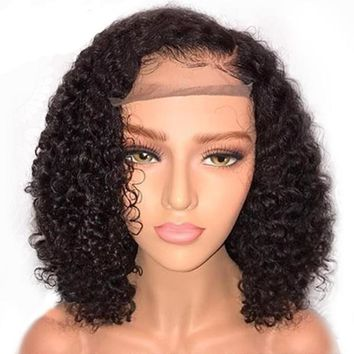 Curly Brazilian Remy Human Hair Wig Pre Plucked With Baby Hair 13x6