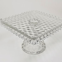 Fostoria American Square Pedestal Cake Stand with Rum Well