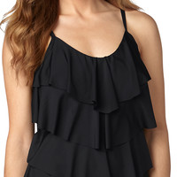 Black Tiered Tankini Swim Top - Black