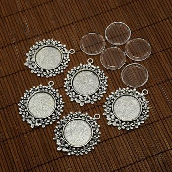 25mm Pendant Cabochon Settings with Clear Domed Glass Cabochon Cover for DIY Pendant Making Jewelry Findings 5Sets/lot