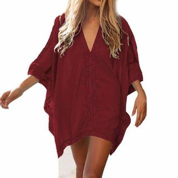 Lace V-Neck Loose Women Beach Tunic Cover Up Dress