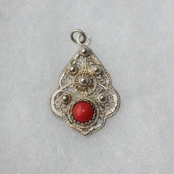 Vintage Pendant Persian Filigree Red Cabochan 20s Silver plated Copper Women Necklace Art Deco Jewelry Small Gypsy Ethnic