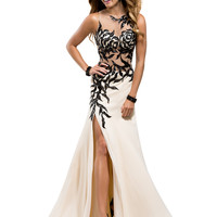High Neck Sheer And Beaded Formal Prom Dress Flirt P2806