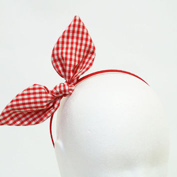 Red Gingham Bunny Bow Headband by project130 on Etsy