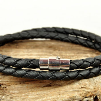 FREE SHIPPING - Men Bracelet, Leather Men Bracelet, Men's Leather Bracelet, Braided Black Leather Bracelet